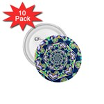 Power Spiral Polygon Blue Green White 1.75  Buttons (10 pack) Front