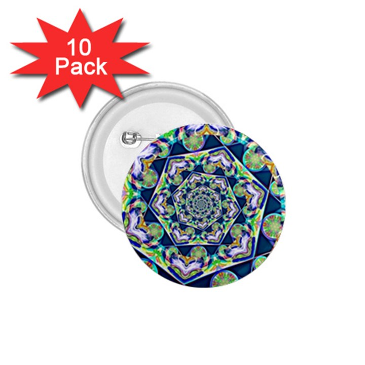 Power Spiral Polygon Blue Green White 1.75  Buttons (10 pack)