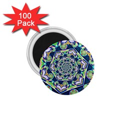 Power Spiral Polygon Blue Green White 1 75  Magnets (100 Pack)  by EDDArt