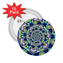 Power Spiral Polygon Blue Green White 2 25  Buttons (10 Pack)