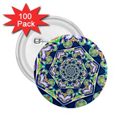 Power Spiral Polygon Blue Green White 2 25  Buttons (100 Pack)