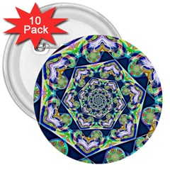 Power Spiral Polygon Blue Green White 3  Buttons (10 Pack)