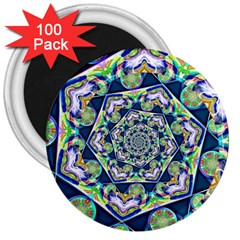 Power Spiral Polygon Blue Green White 3  Magnets (100 Pack) by EDDArt