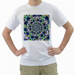 Power Spiral Polygon Blue Green White Men s T Shirt (white) (two Sided) by EDDArt