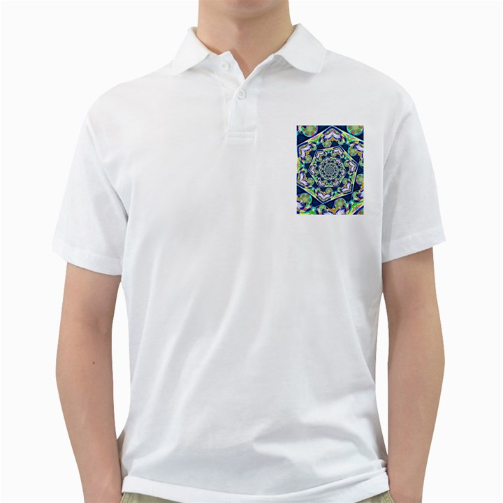 Power Spiral Polygon Blue Green White Golf Shirts