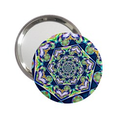 Power Spiral Polygon Blue Green White 2 25  Handbag Mirrors by EDDArt