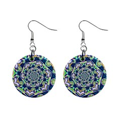 Power Spiral Polygon Blue Green White Mini Button Earrings