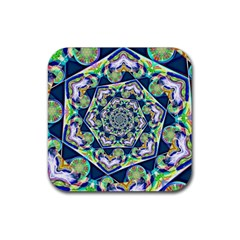 Power Spiral Polygon Blue Green White Rubber Coaster (square)  by EDDArt