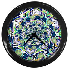 Power Spiral Polygon Blue Green White Wall Clocks (black)