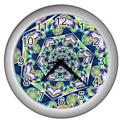 Power Spiral Polygon Blue Green White Wall Clocks (silver)  by EDDArt