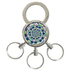 Power Spiral Polygon Blue Green White 3 Ring Key Chains