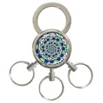 Power Spiral Polygon Blue Green White 3-Ring Key Chains Front