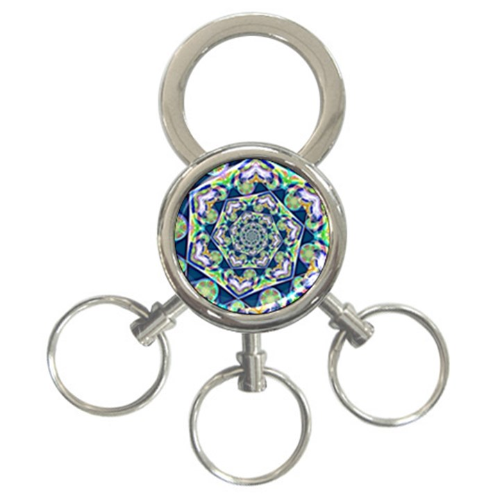 Power Spiral Polygon Blue Green White 3-Ring Key Chains