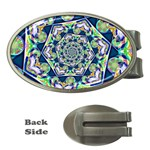 Power Spiral Polygon Blue Green White Money Clips (Oval)