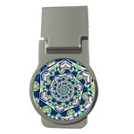 Power Spiral Polygon Blue Green White Money Clips (Round)  Front