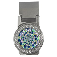 Power Spiral Polygon Blue Green White Money Clips (cz)  by EDDArt