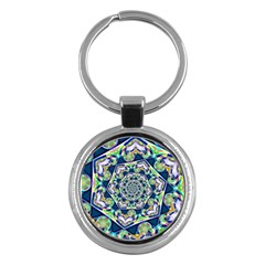 Power Spiral Polygon Blue Green White Key Chains (round)  by EDDArt