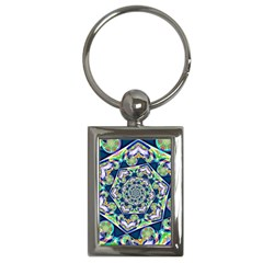 Power Spiral Polygon Blue Green White Key Chains (rectangle)  by EDDArt