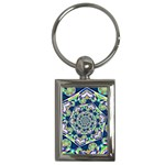 Power Spiral Polygon Blue Green White Key Chains (Rectangle)  Front