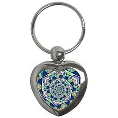 Power Spiral Polygon Blue Green White Key Chains (heart)