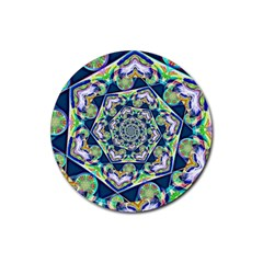 Power Spiral Polygon Blue Green White Rubber Round Coaster (4 Pack)  by EDDArt