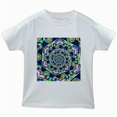 Power Spiral Polygon Blue Green White Kids White T Shirts