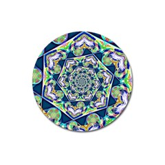 Power Spiral Polygon Blue Green White Magnet 3  (round)