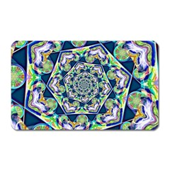 Power Spiral Polygon Blue Green White Magnet (rectangular) by EDDArt