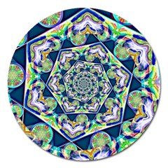 Power Spiral Polygon Blue Green White Magnet 5  (round)