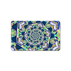 Power Spiral Polygon Blue Green White Magnet (name Card) by EDDArt