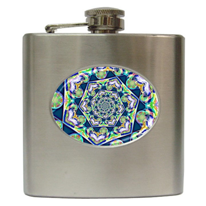 Power Spiral Polygon Blue Green White Hip Flask (6 oz)