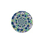 Power Spiral Polygon Blue Green White Golf Ball Marker Front