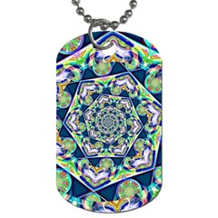 Power Spiral Polygon Blue Green White Dog Tag (two Sides) by EDDArt