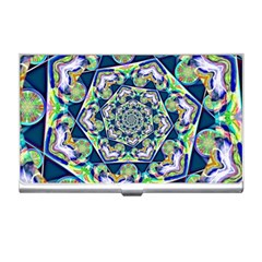 Power Spiral Polygon Blue Green White Business Card Holders by EDDArt