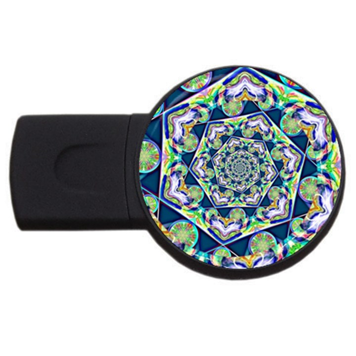 Power Spiral Polygon Blue Green White USB Flash Drive Round (2 GB)