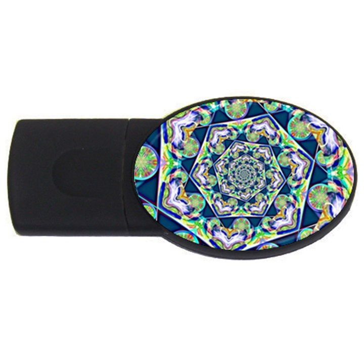 Power Spiral Polygon Blue Green White USB Flash Drive Oval (2 GB)