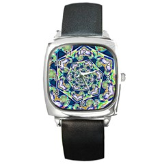 Power Spiral Polygon Blue Green White Square Metal Watch