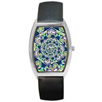 Power Spiral Polygon Blue Green White Barrel Style Metal Watch Front