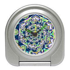 Power Spiral Polygon Blue Green White Travel Alarm Clocks