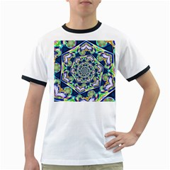 Power Spiral Polygon Blue Green White Ringer T Shirts
