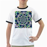 Power Spiral Polygon Blue Green White Ringer T-Shirts Front