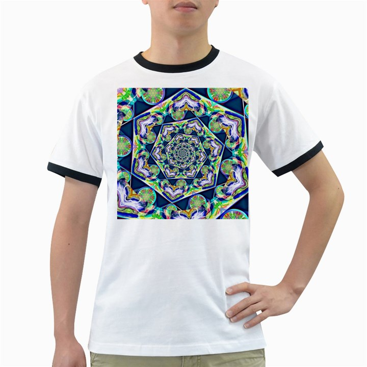Power Spiral Polygon Blue Green White Ringer T-Shirts