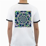 Power Spiral Polygon Blue Green White Ringer T-Shirts Back