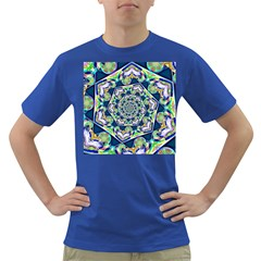 Power Spiral Polygon Blue Green White Dark T Shirt