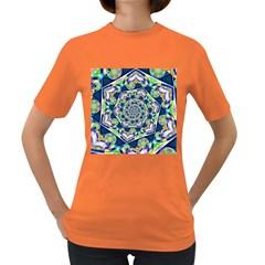 Power Spiral Polygon Blue Green White Women s Dark T Shirt