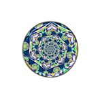 Power Spiral Polygon Blue Green White Hat Clip Ball Marker (4 pack) Front
