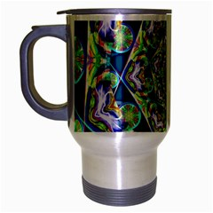 Power Spiral Polygon Blue Green White Travel Mug (silver Gray)