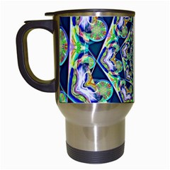 Power Spiral Polygon Blue Green White Travel Mugs (white)