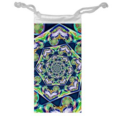 Power Spiral Polygon Blue Green White Jewelry Bags by EDDArt