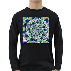 Power Spiral Polygon Blue Green White Long Sleeve Dark T Shirts